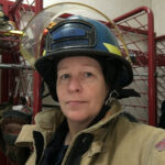 A woman firefighter