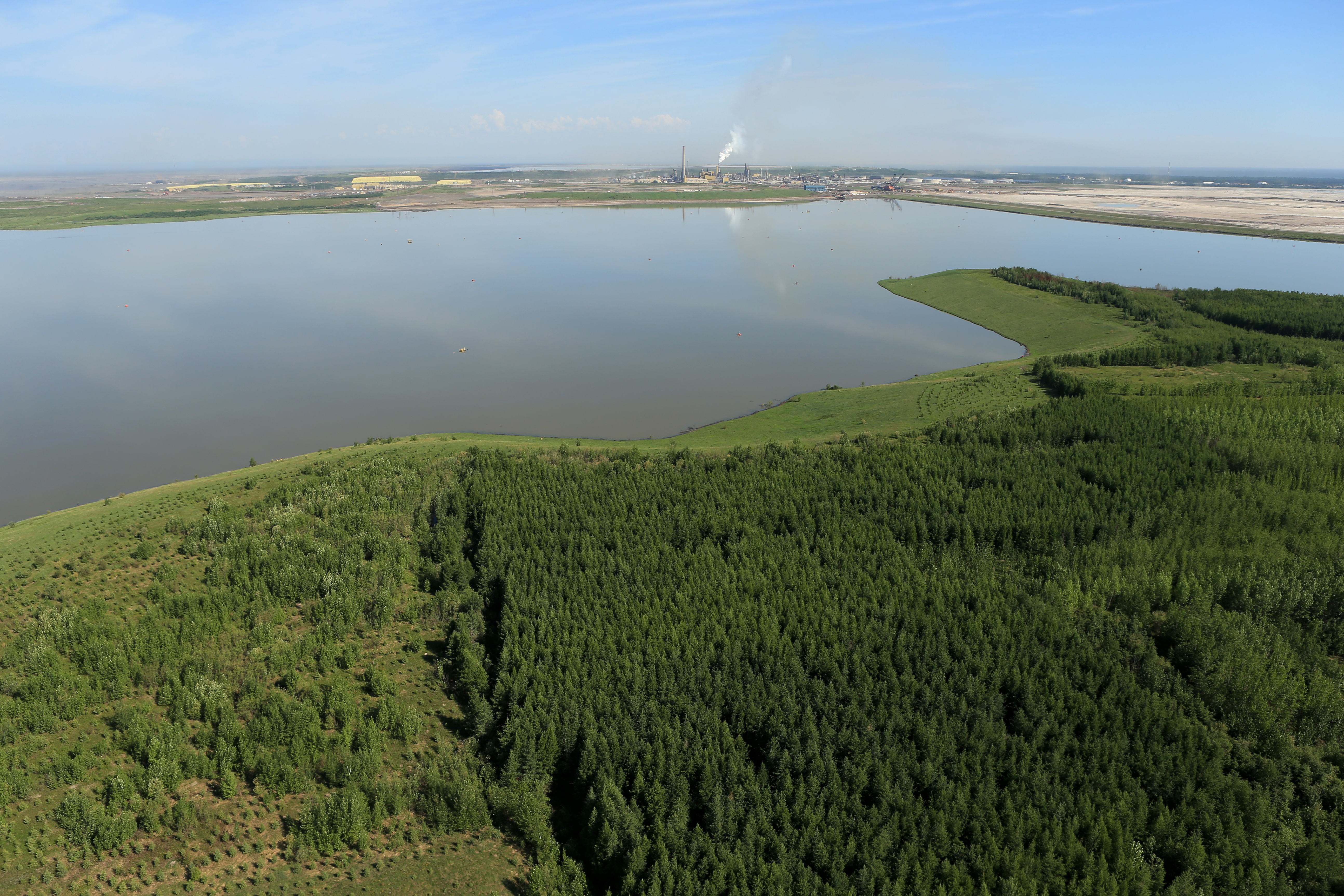 A lake located in an active oilsands operations in the Wood Buffalo.